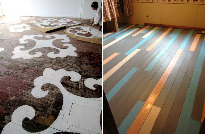 покраска деревянного пола фото