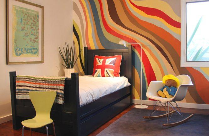покраска стен в два цвета фото